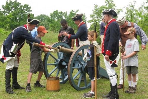 Brandywine Battle Historic Site loading a cannon
